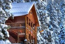 Ski Cabin / I always imagined winter in a cabin somewhere next to a ski trail or two- maybe that's why when I think about Christmas I relate it to low ceilings :)