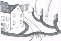 Drawings of houses and roads / Hus och vägar by Mikaela Elf