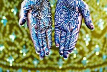 "~Henna~Mehndi~Bindi~Ink~ / The Indian art of applying Henna temporary tattoos is widely used as part of the south asian wedding ensemble. ""Mehndi, also spelled ""Mehendi"" is from Hindi, derived originally from the Sanskrit ""Mendhika"" denoting the henna plant from which the dye is derived. Oh, did I mention...it's really beautiful!"