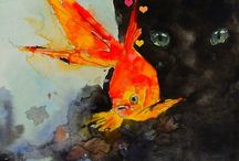 ~Fish in Art ~ / From ocean and sea life to lakes, brooks, and aquariums, fish always make an interesting artistic subject.