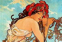 ~Women of Art Nouveau/Deco~ / Examples of the sinuous flowing tresses of curvy Art Nouveau Women, to their stark geometrical counterpart, the Art Deco Woman...and the transition between.  / by Tammy Maria Settles