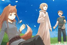 """Spice & Wolf / The peddler Kraft Lawrence travels through the world selling all kinds of things. After visiting a village, he discovers a sleeping girl under the pelts in his cart. She has wolf ears and a tail. The wolf girl explains that she has been called a """"god,"""" but that her name is Holo and nothing more. Lawrence teases the girl a little and he is moved and decides to accompany her further north."""