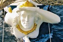 """Figurehead (Polena) / """"From thence it is the storm of God's quick wrath is first descried, and the bow must bear the earliest brunt. From thence it is the God of breezes fair or foul is first invoked for favorable winds."""""""