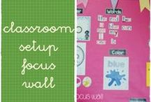 classroom setup - focus wall / focus wall and time circle