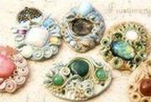 ๑ஐ๑Clay jewels with healing gemstones๑ஐ๑ / Artisan clay jewels