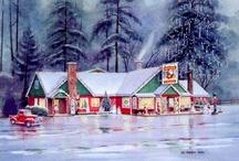 Mel Vincent Christmas Cards / Biography: Born in Nampa, Idaho 1925. Graduated from Nampa High School 1943. US Navy Air Corps'43-'46. Minneapolis School Of Art '47. Furniture illustrator Boutells Furniture, Minneapolis '47-'52. Free lance art/photo studio Minneapolis '52-'61. Art Director Breuner's Furniture, Sacramento '61-'62. Advertising/Art Director Rubenstein's Furniture, Eugene '62-'88. Free lance art/photo studio Eugene, '88 to present.