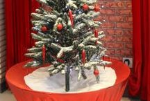 Snowing Christmas Tree / Creates a cascading snow fall effect. Comes with: 24 red and gold ornaments, LED micro lights continuously litVariable speed control, increase or decrease snow flowMusical on or off, randomly plays portions of several popular Christmas tunes Requires 120VAC