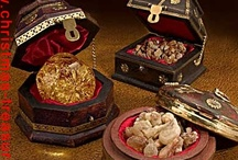 """Three Kings Gifts /  Three Kings Gifts -- Gold, Frankincense and Myrrh gift chests bring the Gifts of the Magi to life. These """"Original Gifts of Christmas"""" are real. Real 23 karat gold and authentic frankincense and myrrh from the same regions as the gifts brought to the baby Jesus on that very first Christmas. The Christmas collectibles will be at home along side your Nativity set and will become a tradition that bring years of joy."""