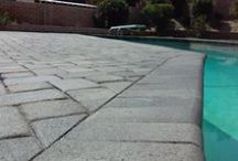 Pool Areas / PaveScapes pavers and natural stone products featured around pool and spa areas.