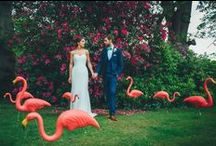 Tropical wedding with flamingos / Some inspiration for a tropical wedding theme: pink flamingos, pineapples and drinks.