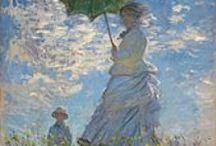 art: impressionism (1850-1900) / Het impressionisme ontstond in Frankrijk uit verzet tegen de algemeen aanvaarde classicistische kunst. Het ontwikkelde zich tot een totaal nieuwe stijl als voorloper van modernisme. Kenmerkend voor het impressionisme zijn: gerichtheid op beleving van het moment ('impressie'), keuzes voor thema's uit het 'moderne leven', bijzondere aandacht voor lichteffecten en kleur, een schetsachtige werkwijze en het werken in de open lucht. Bekendste vertegenwoordigers zijn: Monet, Renoir, Degas en Cézanne. / by Bart