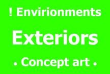 ! Exterior • Environments  - Concept art / Exterior environments, concept art.   Exterior scenes from landscapes do space themed art.  (curated from all over the web, artist name included when found, if you know the name and contacts or the artist please post in comments :)