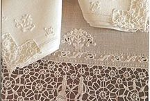 Linens-Lace & Ribbons / To draw together the edges of string then passed through eyelet holes. Oh the beauty of lace