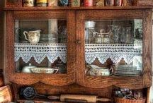 Kitchen Cupboards / Look into my cupboards with shelves, some lined with lace, and enjoy the beauty of the vessel from which food is served