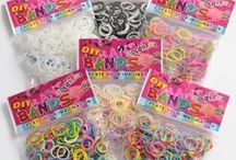Loom bands - Biggest children's craze in years! / Talbot Fashions has all you need to join in with this fun and compulsive trend. Children everywhere are making bracelets and other jewellery by interlinking rubber bands into various patterns & designs using a crochet hook and clips. There are endless designs and it's easy to dismantle and start again. This DIY craze is sweeping through the country's playgrounds! Don't miss out on this cheap, very much in demand and 'must have' product as stock is selling incredibly fast!