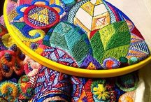 Embroidery, beads, stitches
