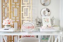 Beautiful Work Spaces / gorgeous office   feminine decor   white office space   clean work space