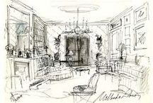 ARCH. DRAWINGS + / architectural and interior drawings/ paintings/ sketches