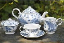 Botanic Blue / Reminiscent of a French antique toile fabric adapted to create a classic yet modern pattern.