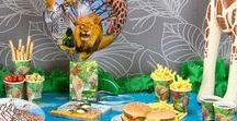Safari Kinderfeestje / Doe ideeën op voor een Safari kinderfeestje met sfeer foto's van jungle feestartikelen en versieringen.