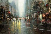 Inspirations peintures urbaines / Peinture, aquarelles, photos de villes pour inspiration à des tableaux de ville, aquarelles urbaines, New York... watercolor - new york watercolor painting