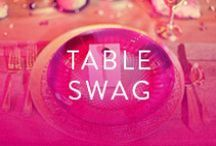 Table Swag / Centerpieces, Tablecloths, Chairs, Plates, Flatware, Napkins, Decorations, you name it- we've got what you need to make your tables have the swag they need to make your event.
