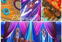 Sangeet / Indian wedding Sangeet Garba Mehendi traditional umbrellas colorful gadis pillows floor seating lighting moroccan gujarati rajesthani