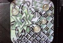 zentangles - jewellery / tiny art, paper hand painted jewel with zentangle!