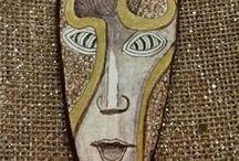 handpainted jewelry and masks / hand painted pendants, original painted pendants, wearable art