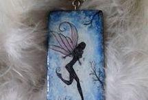 handpainted jewelry and fairies / handpainted pendants, tiny art, wearable art