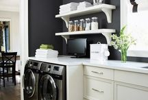 Small Laundry / Laundry room, small laundry, mud room, storage solutions, washing machine, dryer, white sink,wash room, utility room