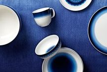 INBLUE Tableware - Rörstrand - 2014 / The decoration of Inblue is a new take on Rörstrand classics such as Koka Blue and Blå Eld. The blue pigment appears to seep and spread over the pieces in that characteristic Rörstrand manner, adding an extra dash of personality to each item. Inspiration for the vibrant midnight blue colour comes from the unspoilt nature of Sweden.