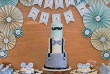 Little Man Gentleman Mustache Baby Shower / SAROMINspired, SAROM INspired, Little Man Gentleman Mustache Baby Shower, blue, gray, grey, boy