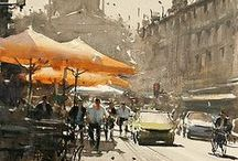 world in watercolor. / Watercolor paintings of cities around the world