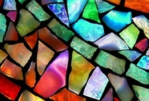 fantastic glass / painting techniques, stained-glass windows, light reflections, texture, mosaic: all artistic glass