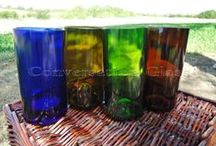 Wine Bottle Glasses / Glasses made from recycled wine bottles / by Conversation Glass