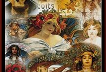 Mucha, Alphonse Cross Stitch Patterns by Cross Stitch Collectibles / Fine art counted cross stitch patterns adapted from the works of whimsical Art Nouveau painter, Alphonse Mucha.  Designs by Kathleen George, Cross Stitch Collectibles