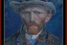 Van Gogh Cross Stitch patterns by Cross Stitch Collectibles / Fine art counted cross stitch patterns adapted from the bold Post-Impressionist paintings of Dutch artist Vincent Van Gogh. Designs by Kathleen George, Cross Stitch Collectibles