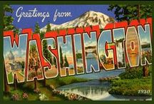 Washington Quilt Blocks Vintage / Vintage Washington images of antique postcards, trade cards and labels printed on cloth for quilters. Quilt Block Sets of 4 include a free Wall Hanging Pattern.