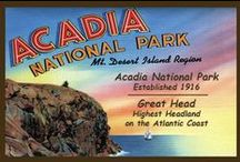 Acadia National Park Quilt Blocks / Vintage Acadia National Park images of antique postcards and posters printed on cloth for quilters. Quilt Block Sets of 4 include a free Wall Hanging Pattern.