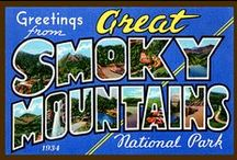 Great Smoky Mountains National Park Quilt Blocks / Vintage Great Smoky Mountains National Park images of antique postcards and posters printed on cloth for quilters. Quilt Blocks sold individually or preselected sets of 4 include a free Wall Hanging Pattern.