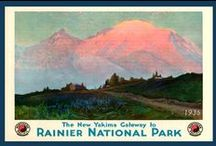 Pacific Northwest Quilt Blocks / Vintage Pacific Northwest: Mt. Rainier, Olympic Park, Crater Lake and Columbia River images of antique postcards and posters printed on cloth for quilters. Quilt Blocks sold individually or preselected sets of 4 include a free Wall Hanging Pattern.