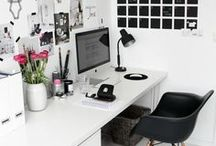 | Interior • Home Office Ideas | / Stylish home office ideas for working girls and women, Girlboss, Home Office, Girl Office, Girly Office, Organization Inspo