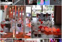 Décoration de mariage aux couleurs de la passion: en rouge et argent / Thème Amour
