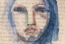 Art Journaling - a face a day challenge / A face a day in my journal | mixed media | art Journal | pencil drawings| Ink drawing| charcoal | acrylic painting| oil painting