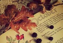 Mabon and autumn splendor / ~ Shivering trees in autumnal colours, apple trees and golden pumpkins, early sunsets, yellow and bronze tress arching over the gardens, blackberry picking, squirrels burying acorns, all hallows eve and ghost stories, decorating beltane altars~