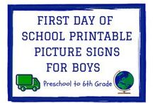Back to School / One stop for all things Back to School from first day photo printables for baby boys (preschool+), teacher gifts, crafts, peanut free recipes and quick dinner recipes.