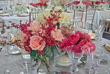 Congrats Mr. & Mrs. Barnett / A beautiful wedding reception mixed with whites, pinks and reds with an assortment of hydrangeas, roses, callas, snapdragons, dahlias and many more.