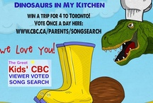"""Dinosaurs in My Kitchen / Our song: """"DInosaurs in My Kitchen"""" is in the """"Great Kids CBC Song Search"""" Winners get a video on CBC and YOU could win a trip to Toronto! visit http://www.cbc.ca/parents/songsearch to vote  1. Find the Splash'N Boots Photo  2. Click on the """"Vote"""" button  3. Enter your email address, then check your email for a security code.  4. Enter the security code on the form   5. """"Submit"""" your vote.  6. Do a happy dance  You can vote once per day! Enjoy our Dinosaur Kitchen Pins!"""