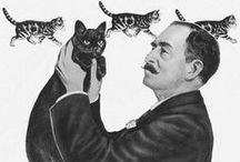 Louis Wain's Cats / The weird and wonderful world of Louis Wain's cat illustrations. Wain popularised cats by depicting them in human situations and with human expression. He elevated cat's status in society from mere 'mousers' to pets and proper members of the family